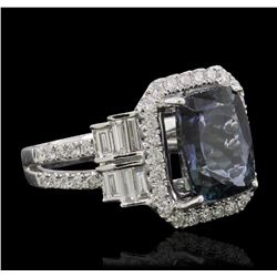 18KT White Gold 4.68 ctw Tanzanite and Diamond Ring