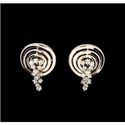 0.88 ctw Diamond Earrings - 14KT Two-Tone Gold