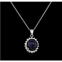 13.12 ctw Sapphire and Diamond Pendant - 14KT White Gold
