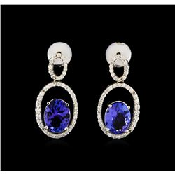 3.58 ctw Tanzanite and Diamond Earrings - 14KT White Gold