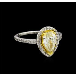 1.25 ctw Fancy Light Yellow Diamond Ring - 14KT Two-Tone Gold