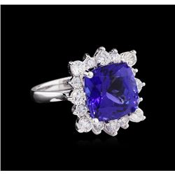 14KT White Gold GIA Certified 7.53 ctw Tanzanite and Diamond Ring