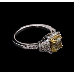 1.67 ctw Light Yellow Diamond Ring - 14KT White Gold