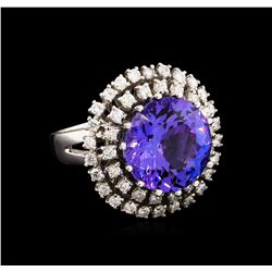 13.60 ctw Tanzanite and Diamond Ring - 14KT White Gold