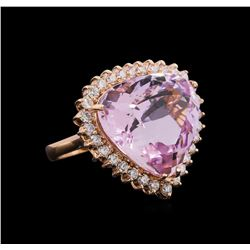24.70 ctw Kunzite and Diamond Ring - 14KT Rose Gold