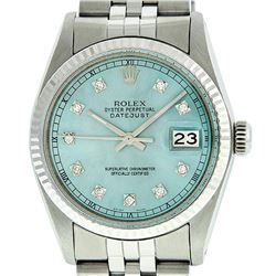 Rolex Mens Stainless Steel Ice Blue Diamond Datejust Wristwatch