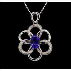 14KT White Gold 2.50 ctw Tanzanite and Diamond Pendant With Chain