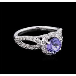 1.22 ctw Tanzanite and Diamond Ring - 14KT White Gold