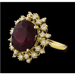 8.91 ctw Ruby and Diamond Ring - 14KT Yellow Gold