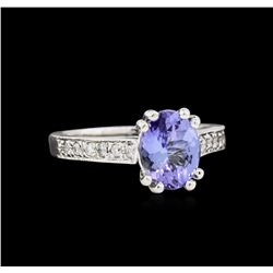 1.93 ctw Tanzanite and Diamond Ring - 14KT White Gold