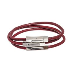 Saks Fifth Avenue Red Leather Set of Three Bracelets