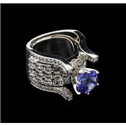 2.75 ctw Tanzanite and Diamond Ring - 14KT White Gold