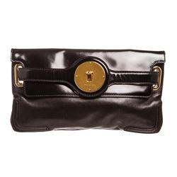 Balenciaga Black Lambskin Leather Clutch Handbag