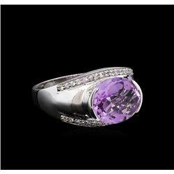 Crayola 3.95 ctw Pink Amethyst and White Sapphire Ring - .925 Silver