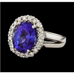 4.76 ctw Tanzanite and Diamond Ring - 14KT White Gold