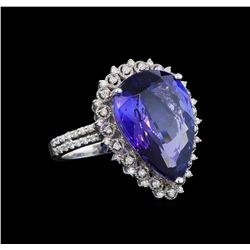 GIA Cert 11.32 ctw Tanzanite and Diamond Ring - 14KT White Gold