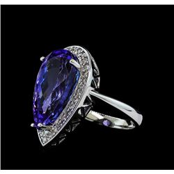 11.34 ctw Tanzanite and Diamond Ring - 14KT White Gold