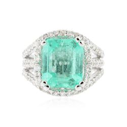 14KT White Gold 5.58 ctw Emerald and Diamond Ring