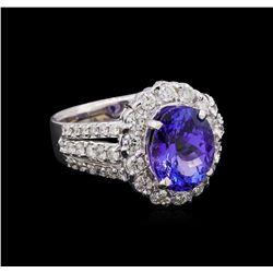 3.81 ctw Tanzanite and Diamond Ring 14KT White Gold