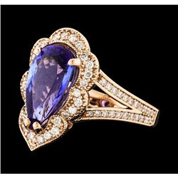 3.12 ctw Tanzanite and Diamond Ring - 14KT Rose Gold
