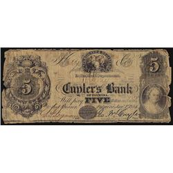 1854 $5 Cuyler's Bank of Palmyra Obsolete Note