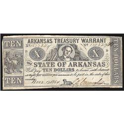 1864 $10 State of Arkansas Treasury Warrant Note
