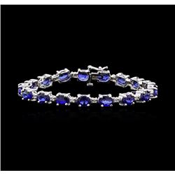 15.86 ctw Sapphire and Diamond Bracelet - 14KT White Gold