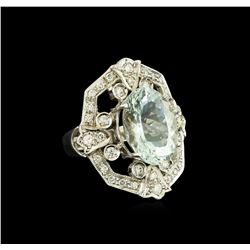 7.07 ctw Aquamarine and Diamond Ring - 14KT White Gold