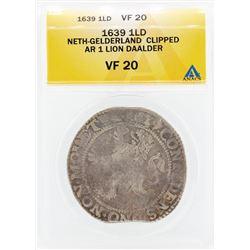 1639 Neth Gelderland Clipped AR 1 Lion Daalder VF20