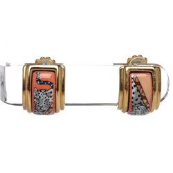 Hermes Gold Plated Enamel Clip On Earrings