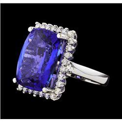GIA Cert 15.89 ctw Diamond and Tanzanite Ring - 14KT White Gold