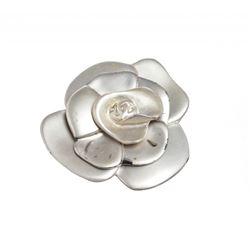 Chanel Matte Silver Camellia Flower Brooch