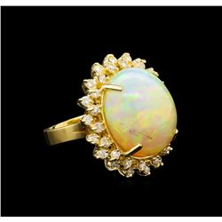 17.50 ctw Opal and Diamond Ring - 14KT Yellow Gold