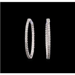 14KT White Gold 2.34 ctw Diamond Hoop Earrings