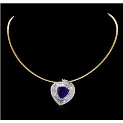 14KT Two-Tone Gold 10.88 ctw Tanzanite and Diamond Pendant With Chain