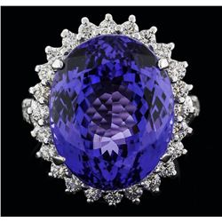 14KT White Gold 19.12 ctw Tanzanite and Diamond Ring