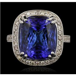14KT White Gold 17.22 ctw GIA Cert Tanzanite and Diamond Ring