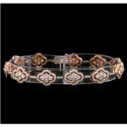 4.39 ctw Diamond Bracelet - 14KT Rose and White Gold