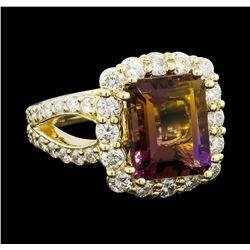 4.56 ctw Ametrine Quartz and Diamond Ring - 14KT Yellow Gold