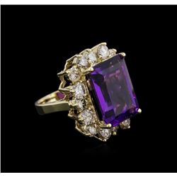 14KT Yellow Gold 10.53 ctw Amethyst and Diamond Ring