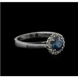 0.83 ctw Blue Diamond Ring - 14KT White Gold