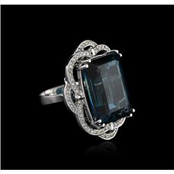 14KT White Gold 32.69 ctw Topaz and Diamond Ring