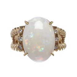 Opal and Diamond 18k Gold Twist Ring