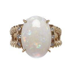 Opal and Diamond 18k Gold Twist Ring