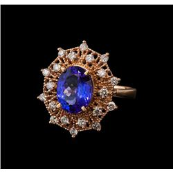 3.62 ctw Tanzanite and Diamond Ring - 14KT Rose Gold