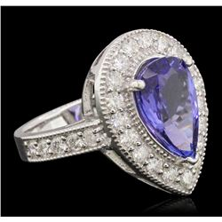 14KT White Gold 2.82 ctw Tanzanite and Diamond Ring