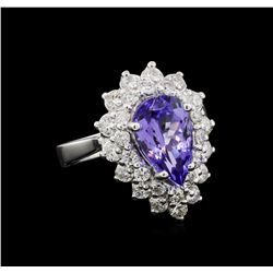 3.27 ctw Tanzanite and Diamond Ring - 14KT White Gold