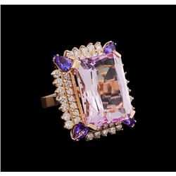 25.85 ctw Kunzite, Tanzanite and Diamond Ring - 14KT Rose Gold