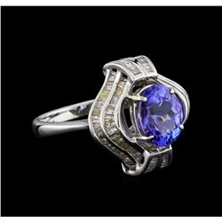 2.73 ctw Tanzanite and Diamond Ring - 18KT White Gold