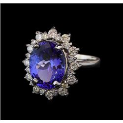 5.6 ctw Tanzanite and Diamond Ring - 14KT White Gold